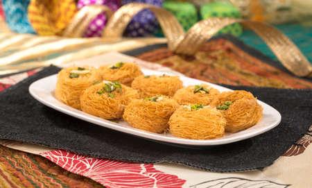 Indian Desi Ghee Sweet Food Pheni or fini maid from maida, sugar and flavore