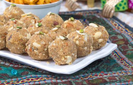 indian sweet food urad or methi laddu Standard-Bild