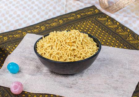 Indian Fried Food Gathiya Namkeen Stock Photo