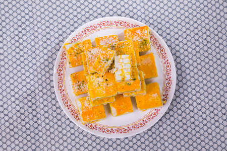 Indian Delicious Paneer Burfi Sweet Food or Paneer Kesar Burfi