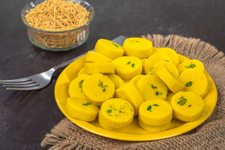 Kesar Peda or Peda is an Indian delicious sweet food made by milkkhoya saffron and other flavor Stock Photo
