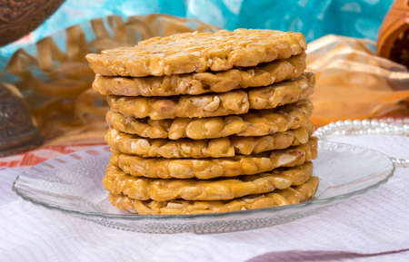 indian festival sweet food Peanus Chikki made by groundnut and jagger, its a favourite of childhood