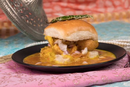 Indian special traditional fried and spicy food vada pav