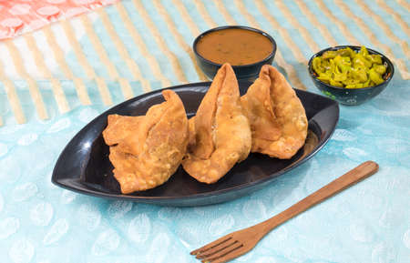 portrait of delicious indian street food samosa Stock Photo
