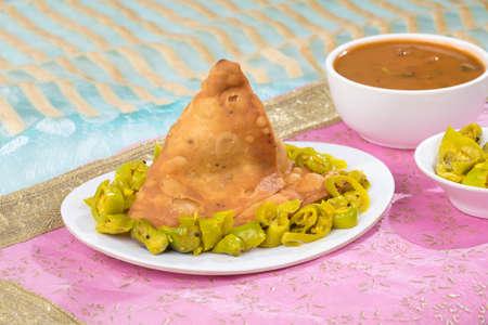 portrait of delicious indian street food samosa Stock Photo