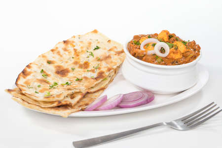 Indian Lunch paneer curry with naan or chapati