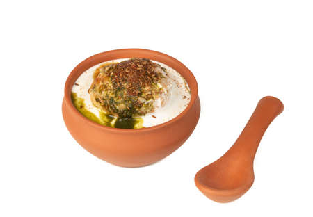 Indian Cuisine Dahi vada isolated on white Background