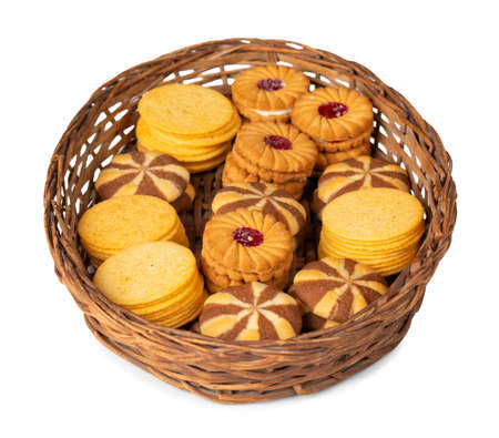 group of home made cookies or biscuits isolate on white background Banco de Imagens