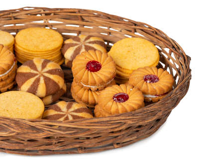 group of home made cookies or biscuits isolate on white background Фото со стока
