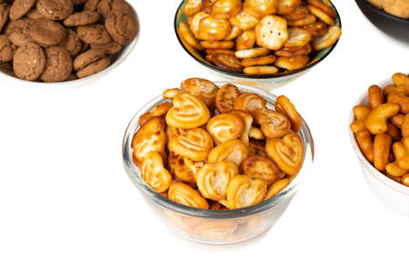 group of home made cookies or biscuits isolate on white background 版權商用圖片 - 130498816