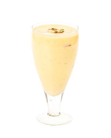 Fresh Almond Saffron Milk / Badam shake isolated on white Background