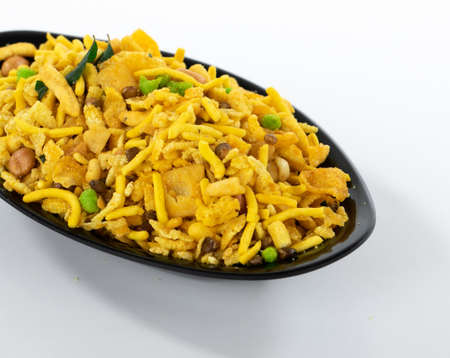 Indian Crunchy and Salty Food Rajasthani Mixure, Famous Food of Rajasthan State of India, isolate on white background