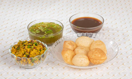 The Traditional Indian Spicy Street Food Gol Gappa or Pani Puri 스톡 콘텐츠