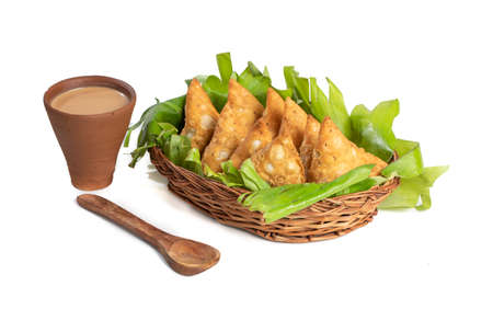 Indian special traditional street food vegetarian samosa or samsa