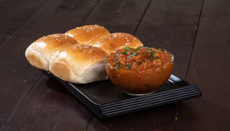Indian Street Vegetarian Fast Food Pav Bhaji, its made by potato, peas, fine flour and other indian spices its mostly eating in evening time with dinner or at street food vendor