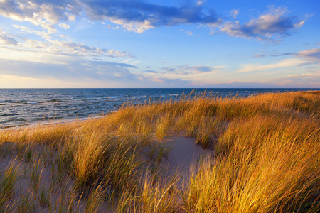 ludington: Dune Grass on Lake Michigan - Ludington Michigan Stock Photo