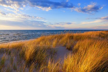 Dune Grass on Lake Michigan - Ludington Michigan Stock Photo