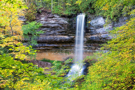 pictured: Miners Falls in Munising Michigan. Pictured Rocks National Lakeshore in the Upper Peninsula. Stock Photo