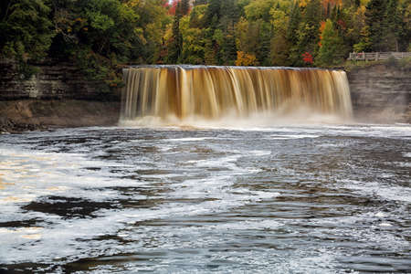 tannins: Tahquemenon Falls is a popular travel destination in the Upper Peninsula of Michigan. Sometimes referred to as the rootbeer falls because of the tannins that leach from the surrounding cedar forest and into the river water. Stock Photo