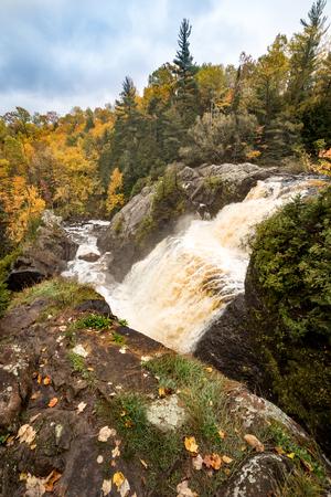 Gabbro Falls in the Upper Peninsula of Michigan in Autumn Stock Photo