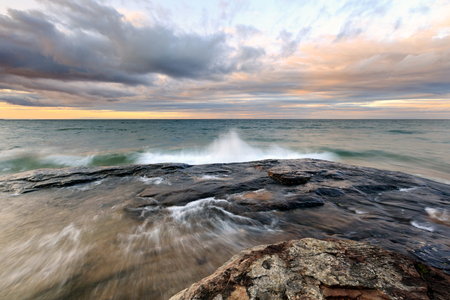 Storm front moves in from Lake Superior at Pictured Rocks National Lakeshore near Munising Michigan