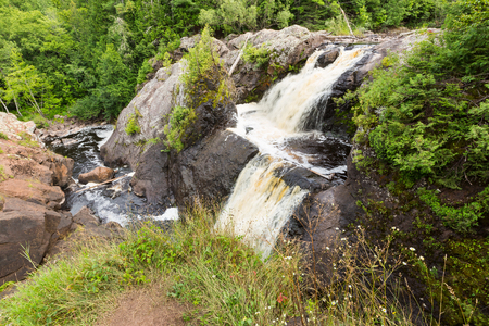 Gabbro Falls, near Ironwood Michigan. The Black River flows over this waterfall on its journey to Lake Superior, in the Upper Peninsula of Michigan