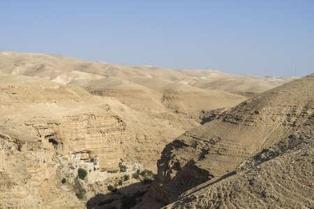 Saint George Church build in rock, Israel border with Jordan