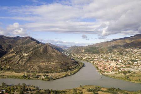 View on Kura river and city of Mccheta from the Monastyr Dzwari. Stock Photo