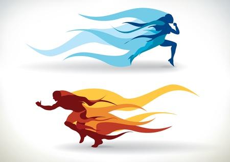 hombres corriendo: Silueta femenina y masculina se ejecuta en llamas