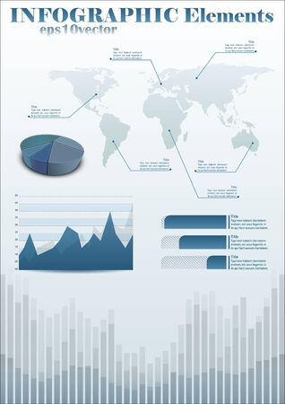 infochart: infochart template with world map and diagrams Illustration