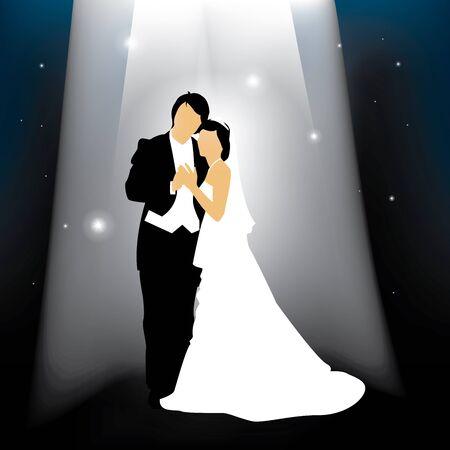 verlobt: Ein verheiratetes Paar vor einem Sternenhimmel Hintergrund Illustration