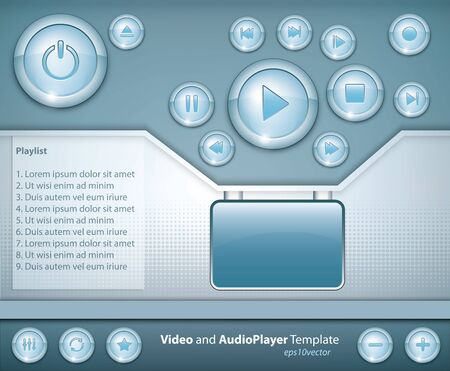eject: media player template design with shiny buttons