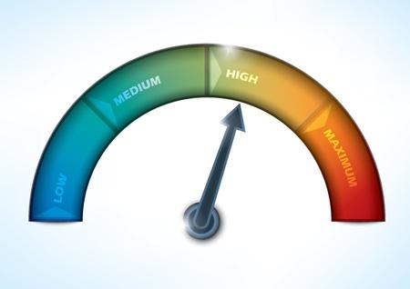 miernik: wskaźnik pokazujący postęp poziomie wydajności Ilustracja