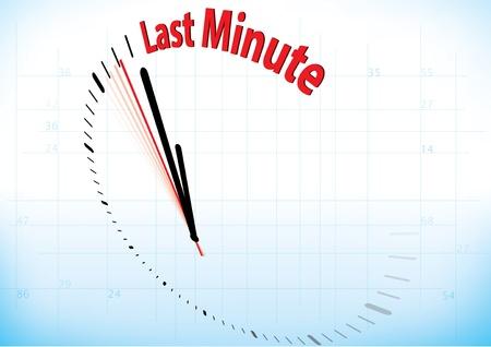 Ilustración de un reloj casi ha alcanzado el último minuto Ilustración de vector