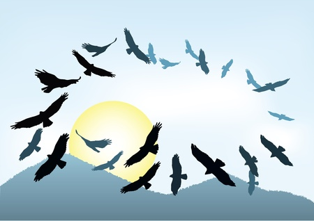 flapping: bird silhouettes flying high in the sky Illustration
