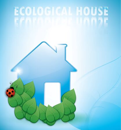 ecological house illustration with glossy blue environment Stock Vector - 11138559