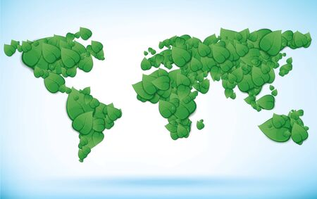 Illustration of a green world map created from leaves Vector