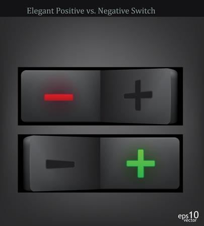 positivism: negativo e polo positivo switch-illustrazione vettoriale