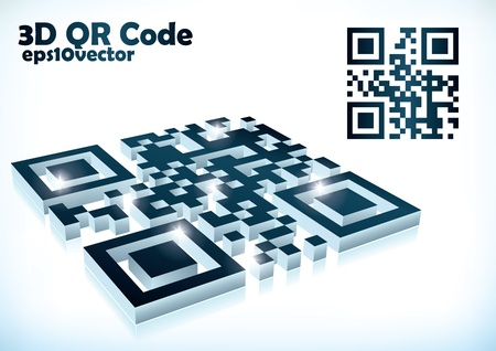 3d qr code in vector format mirrored in white background Vector