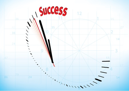 complete solution: a clock reaching time of its success Illustration