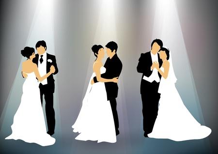 pareja de esposos: Juego de pareja de recién casados ??de fondo siluetas Vectores