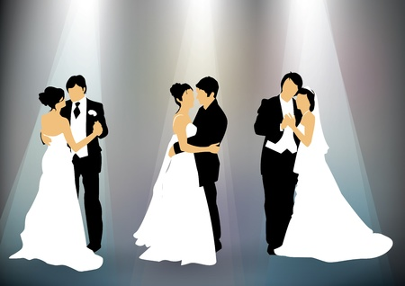 Set of newly married couple silhouettes background Vector