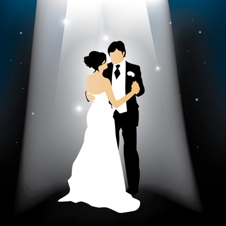 newly wedded couple: newly married couple silhouette against a starry night
