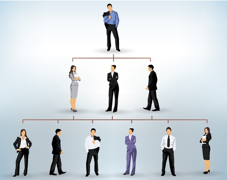 hierarchy: business people silhouettes in a pyramidal structure