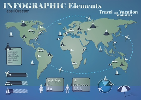 infographic elements for travel and vacation statistics Vector