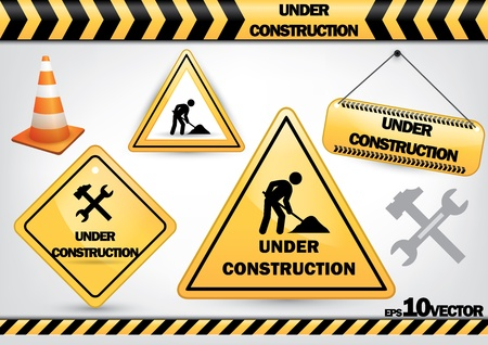 under construction: a set of work in progress symbols isolated on white background