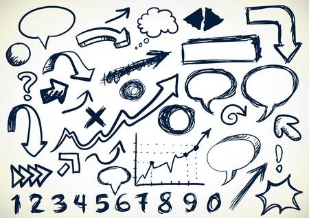 nubes caricatura: Dibujado a mano conjunto de flechas, discurso burbujas, números y otros sribbles
