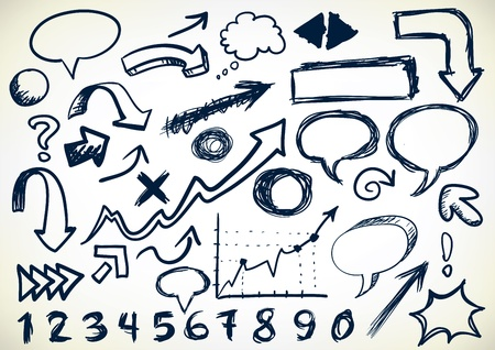 Hand-drawn Set Of Arrows, speech-bubbles, numbers, and other sribbles Vector