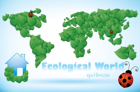 Eco World Map Of Green Leaves with eco-friendly house and ladybird. Vector