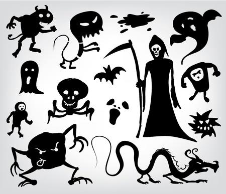 reaper: Monster, Geister und The Grim Reaper, eine Sammlung von Silhouetten f�r Halloween, Fantasy und Horror.